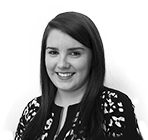 A black and white photo of Rebecca Honnan, a Business Centre Manager at Rapid Formations.