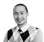 A black and white photo of Unen Tsogtbaatar, media manager at Rapid Formations.